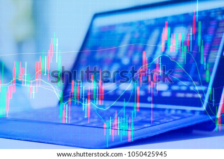 Double exposure Technical price graph and indicator, red and green candlestick chart and stock trading computer screen background Market volatility, up and down trend. Crypto currency theme background