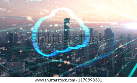 Double exposure the cityscape and clouds technology,Futuristic computer digital Abstract  background