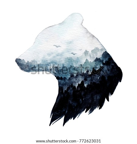 Double exposure watercolor painting. Hand drawn animal portrait. Perfect for t-shirt designs, posters, stickers, notebooks and other. Bear and forest.
