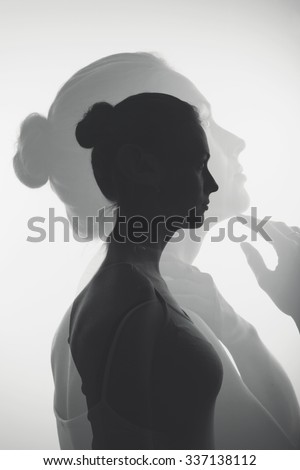Double exposure with attractive young girl, monochrome - Shutterstock ID 337138112