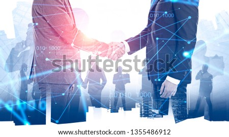 Double exposure with business handshaking on Singapore skyline. Toned image. Concept of international business and logistics.