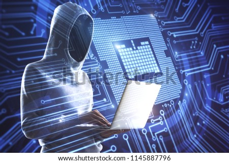 double exposure with hacker working on laptop and abstract microchip board circuit illustration #1145887796