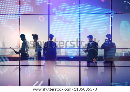 double exposure with teamwork people and abstract technology world map illustration #1135835570