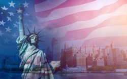 Double exposure with the American flag and the Statue of liberty. Background for independence day - 4th of July.