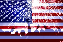 Double exposure with the American flag, celebrating crowd and fireworks. Independence day background, 4th of July concept