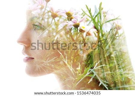 Double exposure woman's closeup portrait with an ecological concept showcasing the beautiful feminine nature of plants and flowers Stock fotó ©