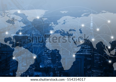 Double exposure world map and connection line on city background. Elements of this image furnished by NASA #554354017