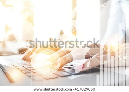Double exposure, worldwide connection interface. Student girl in casual shirt preparing for exams while using computer. Young female freelancer working in café using wireless Internet. Selective focus