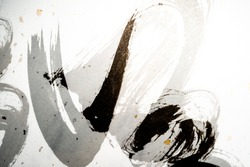 Double exposured Japanese calligraphy on Japanese paper