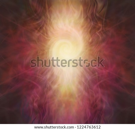 Double Fibonacci spiral background - rich warm red brown gold wispy symmetrical background with a central lemon white double Fibonacci spiral column