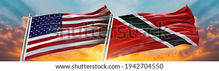 Double Flag Trinidad and Tobago and United States of America flag waving flag with texture background - 3D illustration - 3D render Stock photo ©