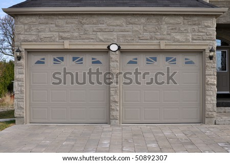 Double garage door - stock photo