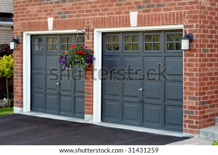 Double Garage with flower pot