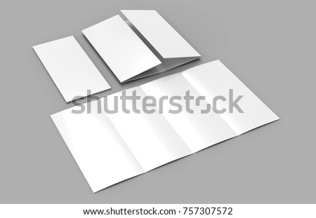 Double gate fold vertical four panel brochure blank white template for mock up and presentation design. 3d illustration.