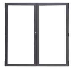 Double glass doors isolated on white background, black aluminium office window frame for interior design