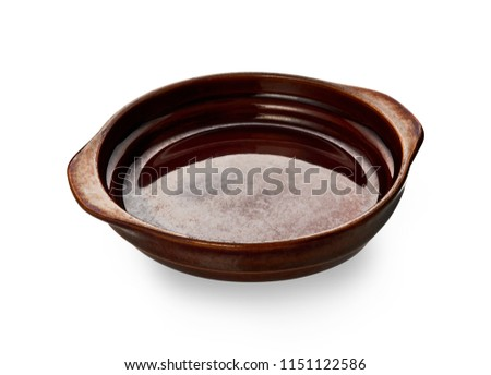 Double handled plate, Empty brown ceramics plates isolated on white background with clipping path, Side view  #1151122586