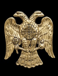 Double Headed Eagle,  common symbol in heraldry and vexillology. It is most commonly associated with Byzantine Empire, Holy Roman Empire, Russian Empire - on black background, clipping paths included.