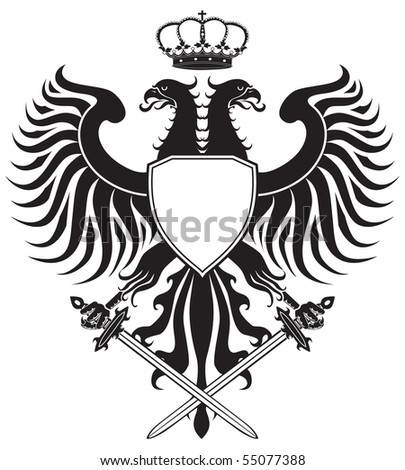 Double Headed Eagle With Crown And Swords Original Crest JPEG Version