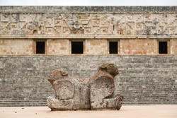 Double headed jaguar throne in front of Mayan governor's palace at Uxmal, Yucatan, Mexico