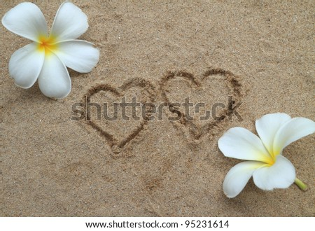Double heart drawn on sand