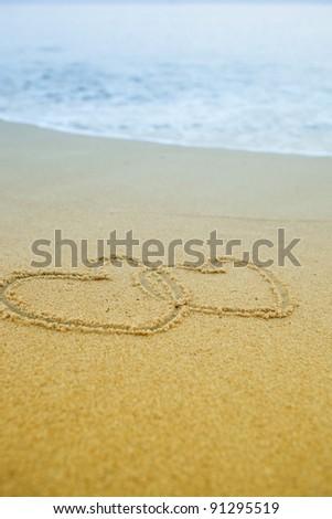 double heart shape on the beach,Phuket Thailand