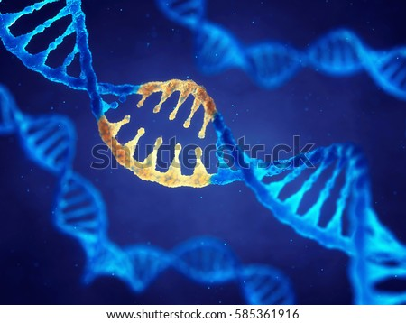 Double helix DNA molecule with modified genes , Correcting mutation by genetic engineering , 3d illustration