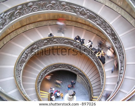 Double helix staircase designed by Giuseppe Momo