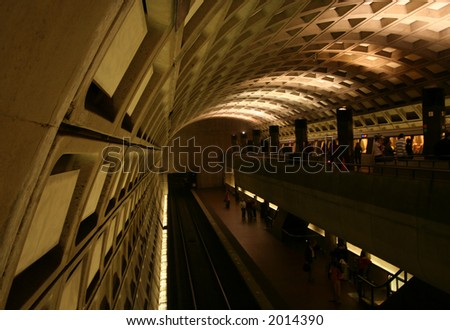 double level Washington Metro station with train