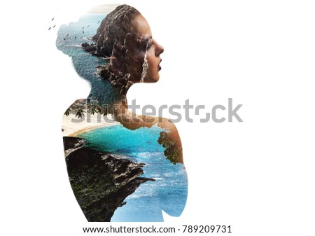 Double, multiple exposure. Digital art. Portrait of woman combined with idyllic nature. Beautiful landscape. Rocky coast, turquoise sea and flying birds. Beach, coastline and profile of female face.