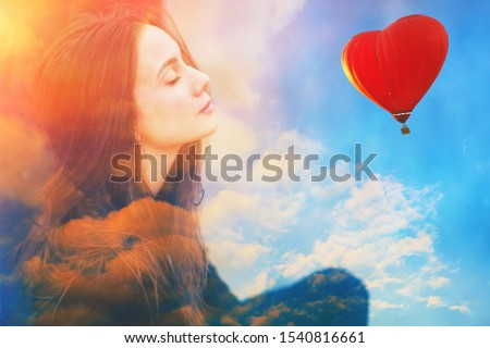 Double multiply exposure portrait of a dreamy cute beautiful young girl with closed eyes, clouds, red heart shape air balloon in blue sunny sky. Valentine day, woman psychology, peace love concept.