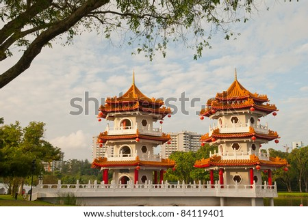 Double Oriental pagodas with traditional architectural styles.