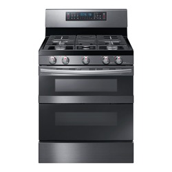 Double Oven Gas Range Isolated on White. Front View of Modern Black Stainless Steel Freestanding Kitchen Stove with Convection. Household Domestic Appliances. Range Cooker 5 Five Burner Cooktop