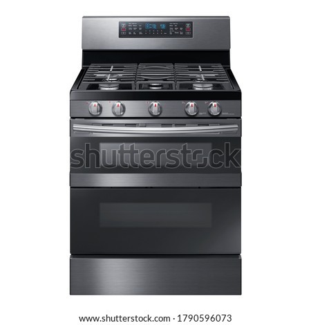 Double Oven Gas Range Isolated on White. Front View of Modern Black Stainless Steel Freestanding Kitchen Stove with Convection. Household Domestic Appliances. Range Cooker 5 Five Burner Cooktop Stock photo ©