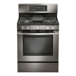Double Oven Gas Range Isolated on White. Household Domestic Major Appliances. Front View of Modern Black Stainless Steel Freestanding Kitchen Stove with Convection. Range Cooker 5 Five Burner Cooktop