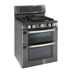 Double Oven Gas Range Isolated on White. Side View of Modern Black Stainless Steel Freestanding Kitchen Stove with Convection. Household Domestic Appliances. Range Cooker 5 Five Burner Cooktop