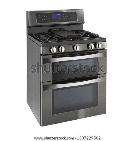 Double Oven Gas Range Isolated on White. Side View of Modern Black Stainless Steel Freestanding Kitchen Stove with Convection. Household Domestic Appliances. Range Cooker 5 Five Burner Cooktop Сток-фото ©