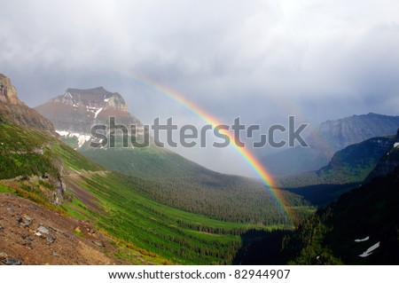 Double rainbow after a rainstorm in Logan Pass