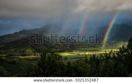 Double rainbow and sunbeams illuminate the taro fields at Kauai's Hanalai overlook. #1025352487