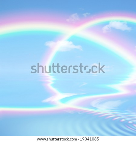 Double rainbow fantasy abstract against a blue sky with reflection over rippled water.