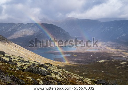 Double rainbow in Khibiny mountains in northern Russia, Murmansk region.