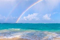 Double rainbow over the sea. Arena Gorda Beach in the Dominican Republic. Nature of the Caribbean islands.