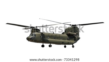 double rotor military helicopter isolated on white