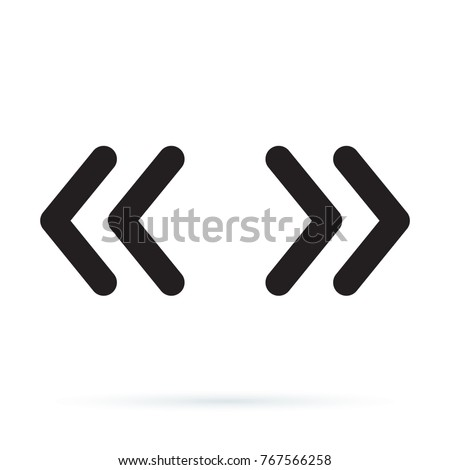 Double rounded chevron arrows. Fast forward, skip or next and previous sidebar tab icon. Web Symbol isolated on white background