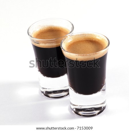 double shots of espresso on classy shot glasses