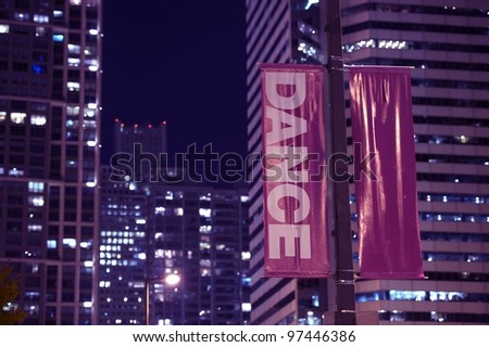 Double Sided Pole Banners. Night Hours Photography. Urban Theme. Dance Banner.