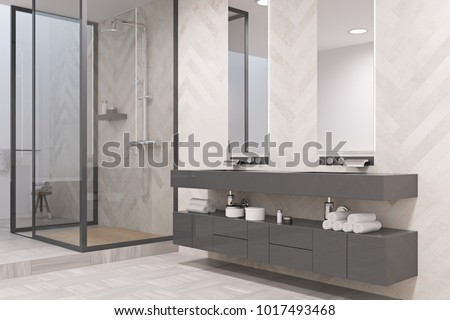 Double sink on a massive gray shelf with two narrow vertical mirrors above it. A shower stall. An original decorated wall. 3d rendering
