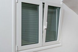 Double tilt and turn aluminum thermal break window with vertical fly screen and rolling shutter, casement window with European groove mechanism