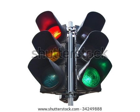 double traffic-light isolated on white