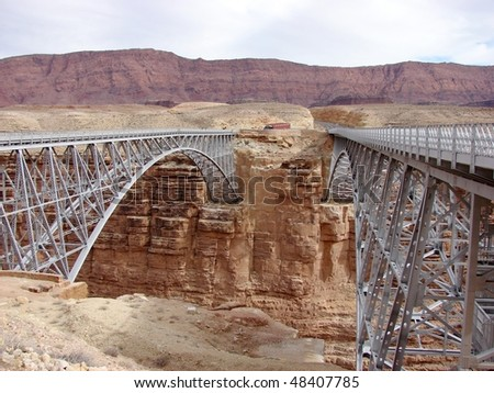 double twin bridges span canyon