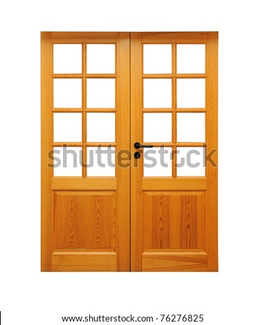 Double wooden doors isolated on white.